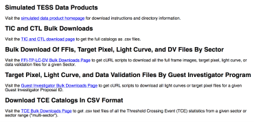 Bulk downloads page screenshot.
