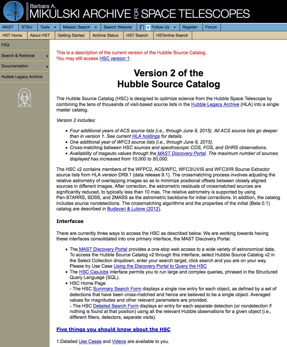 FAQ: Hubble Source Catalog -FAQ