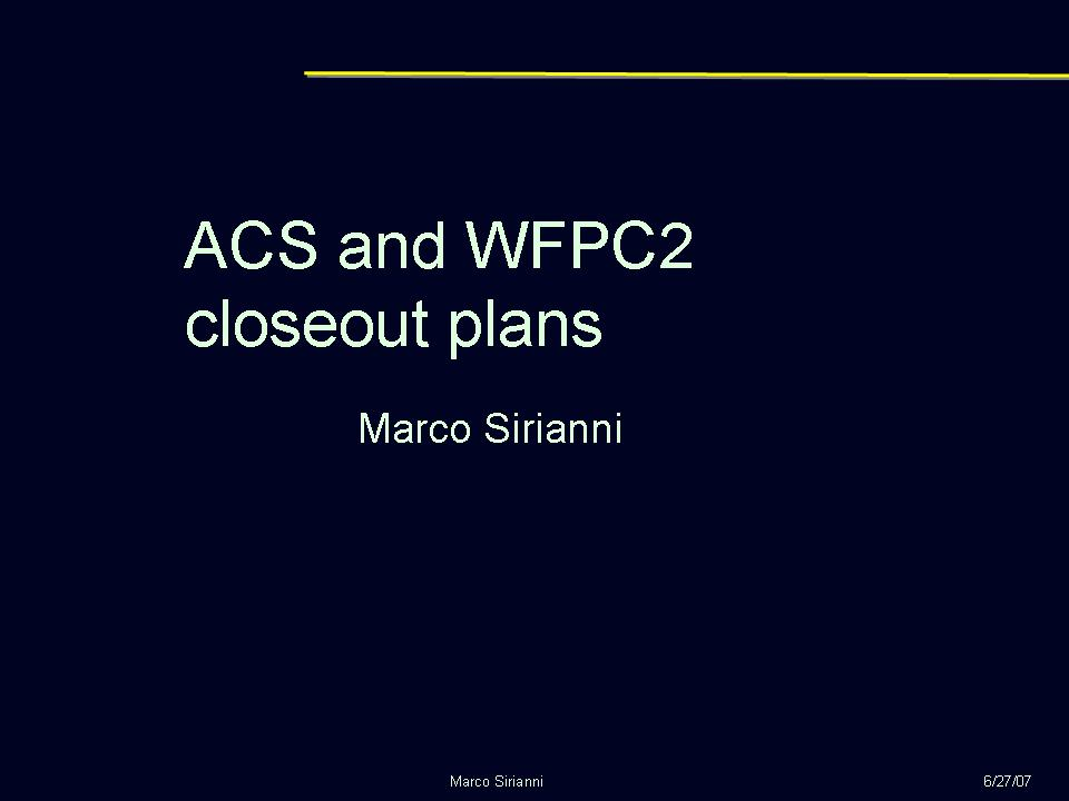 slide 1 of WFPC2 closeout presentation