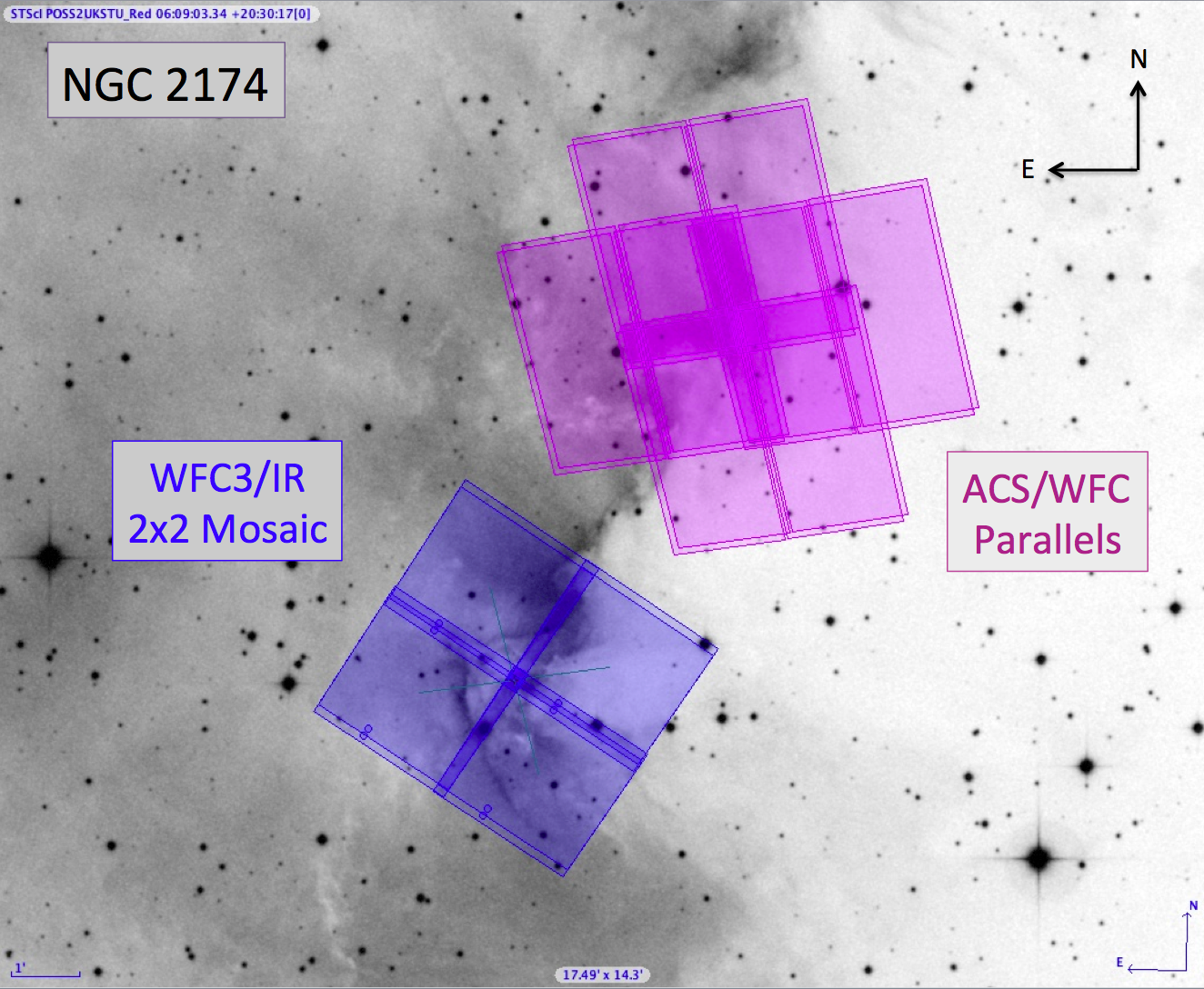 HST Footprints over Digitized Sky Survey Image