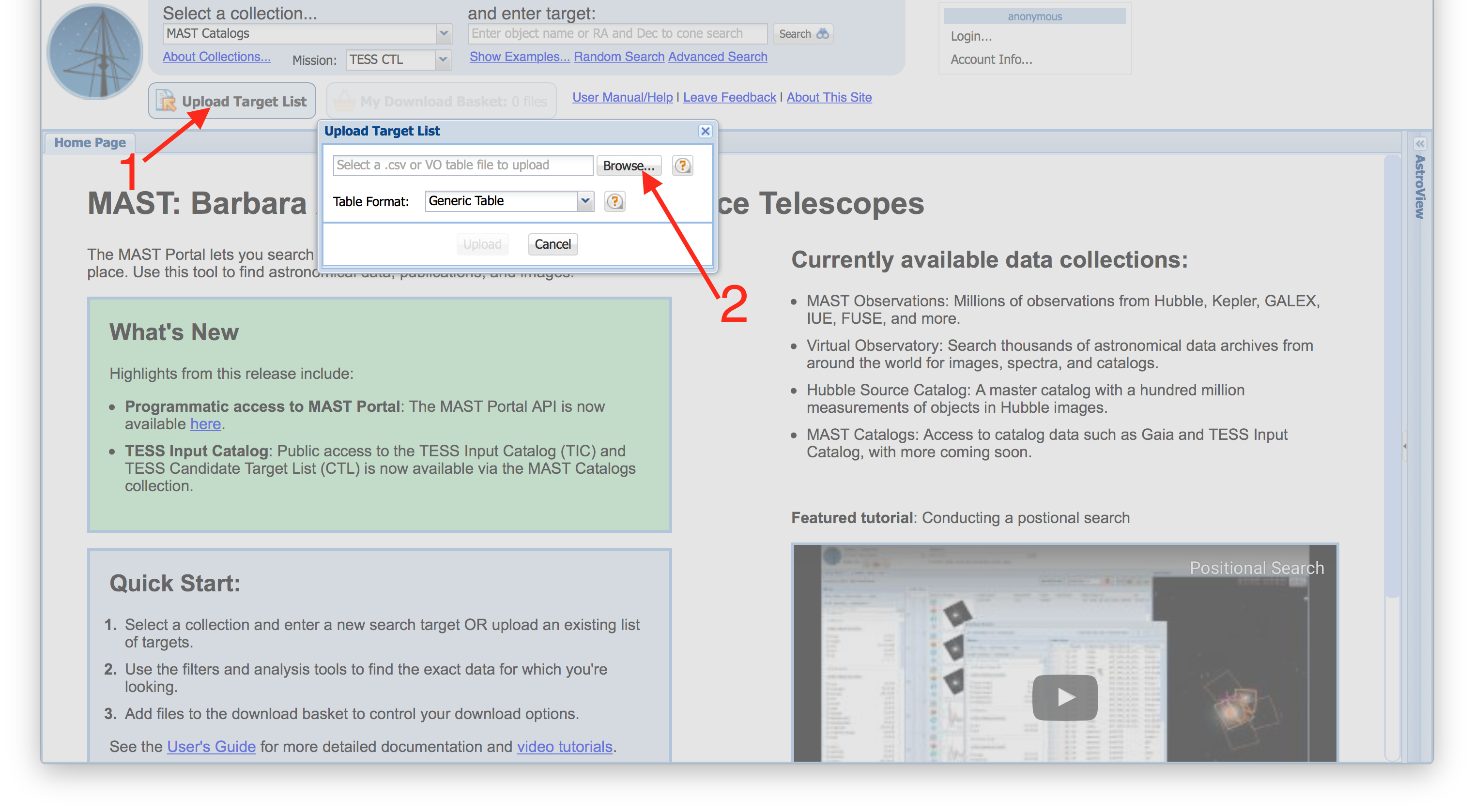 TIC Tutorial - Uploading A Target List